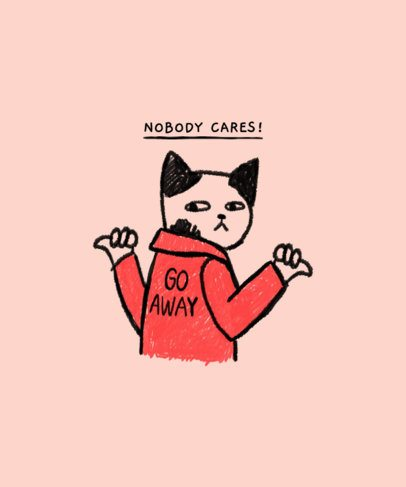 Doodle T-Shirt Design Maker Featuring a Mean Cat 2335d