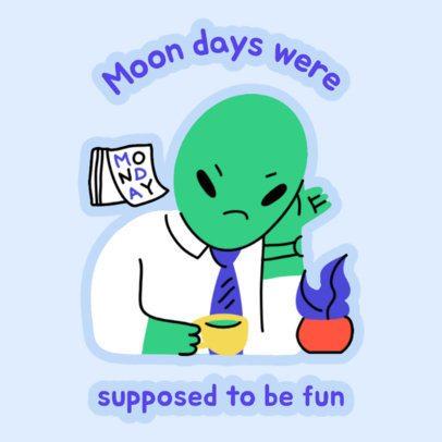 Sticker Design Creator Featuring an Alien at Its Office 2339c