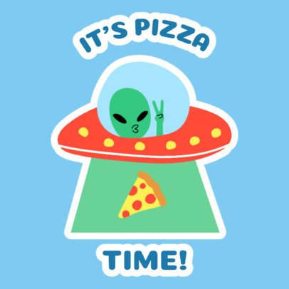 Sticker Design Maker Featuring an Alien Abducting a Pizza 2339d