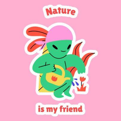 Sticker Design Maker Featuring an Alien Watering Its Plants 2339a
