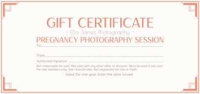 Clean Gift Certificate Maker for a Pregnancy Photographer 2340c