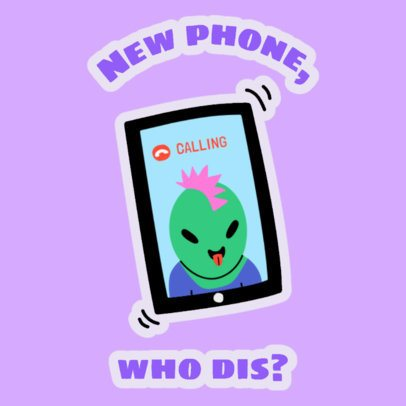 Sticker Design Creator Featuring a Funny Alien on a Phone Call  2339g