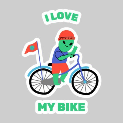 Sticker Design Maker of an Alien Boy Having Fun 2339f