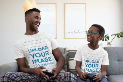 T-Shirt Mockup of Father and Son Playing Videogames at Home 33108
