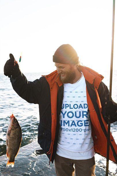 Sweatshirt Mockup Featuring a Man Fishing 3240-el1