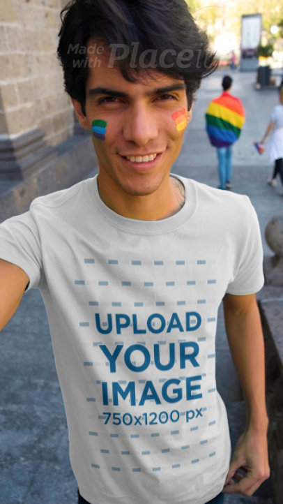 Selfie Video of a Man Wearing a T-Shirt at a Pride Parade 33349
