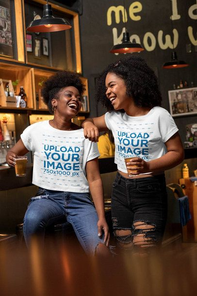 Mockup of Two Friends with Crop Tops at a Bar 32191