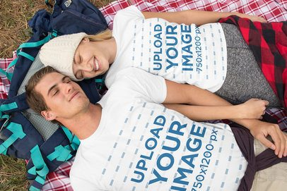 T-Shirt Mockup of a Couple Lying Together 32238