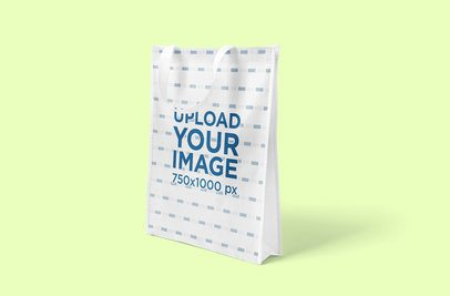 Mockup Featuring a Grocery Bag Placed Against a Solid Color Backdrop 3125-el1
