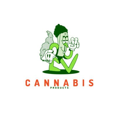 Cannabis Store Logo Template with Cartoon Characters 3082