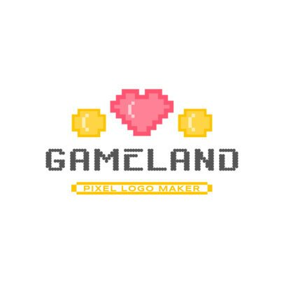 Gaming Logo Template Featuring a Pixel Art Heart 3063f