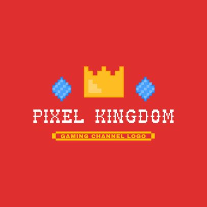 Gaming Channel Logo Template Featuring an 8-Bit Crown 3063g