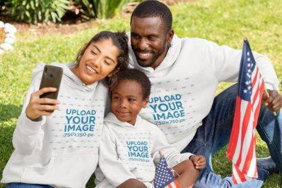 Hoodie Mockup of a Woman Taking a Family Selfie 33026