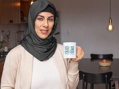 11 oz Mug Mockup of a Woman with a Hijab Having a Coffee at Home 32406