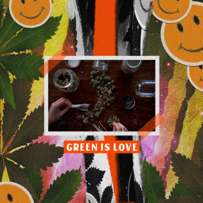 Instagram Post Design Template for Weed Enthusiasts With Marijuana Graphics 2374j