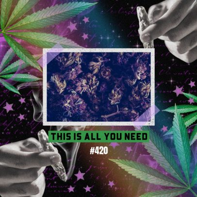 Instagram Post Design Template for a 420 With Cannabis Graphics 2374n
