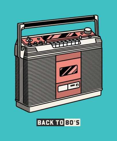 T-Shirt Design Template with Vintage Audio Gadgets 602-el1