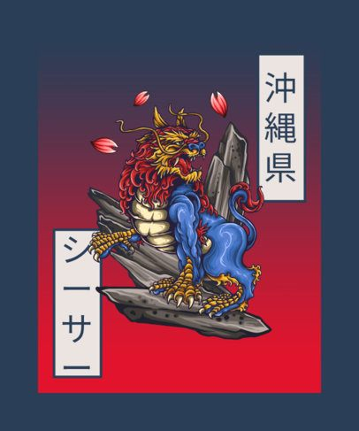 T-Shirt Design Crestor Featuring a Traditional Japanese Guardian Lion 603c-el1