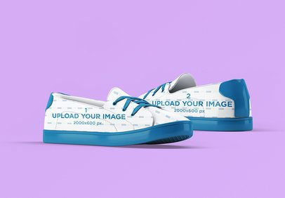 Sneakers Mockup Featuring a Colored Backdrop 3282-el1