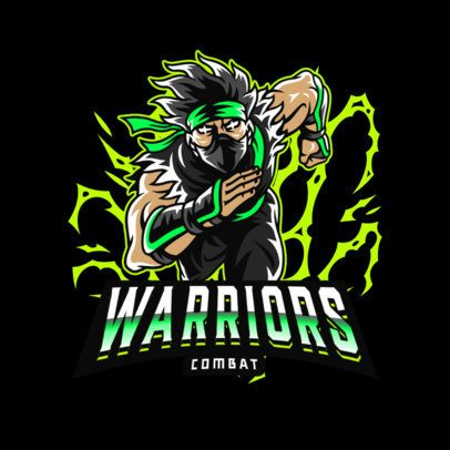 Gaming Logo Maker with a Cool Ninja Warrior Illustration 3075e