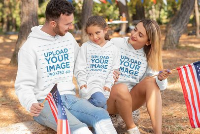 Mockup of a Family Wearing Hoodies on 4th of July 33040
