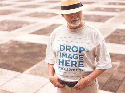 T-Shirt Mockup of a Stylish Elder Man in the Street d12392