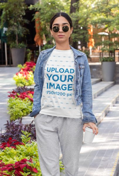 T-Shirt Mockup of an Athleisure-Styled Woman 32470