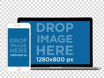White iPhone in Portrait Position + MacBook Pro Responsive PNG Mockup a12407