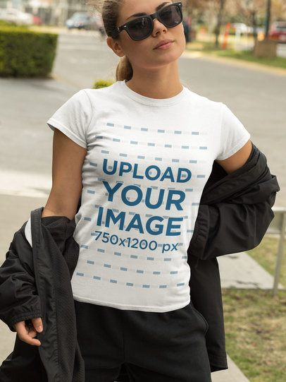 Athleisure-Styled T-Shirt Mockup Featuring a Woman with Sunglasses 32444
