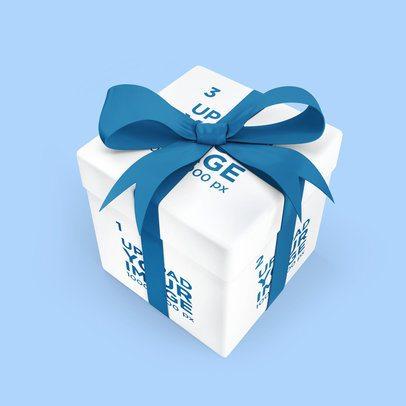 Gift Box Mockup Featuring a Customizable Ribbon 3487-el1