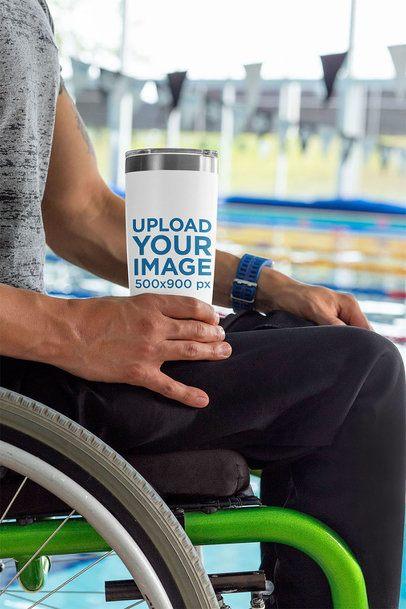 Travel Mug Mockup Featuring a Man Using a Wheelchair by a Pool 32495