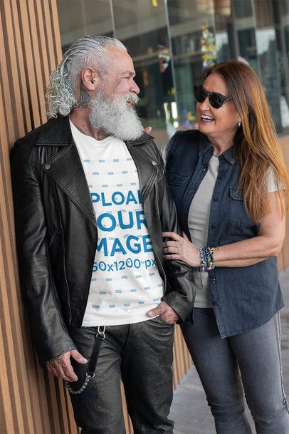 T-Shirt Mockup Featuring a Bearded Man Talking to a Woman 32866