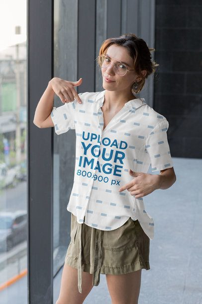 Mockup of a Woman Pointing at Her Button-Up Shirt 33141