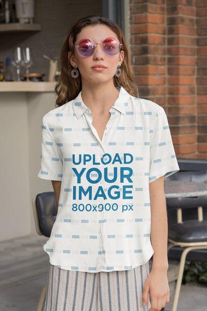Button-Up Shirt Mockup of a Woman Wearing Funky Sunglasses 33136