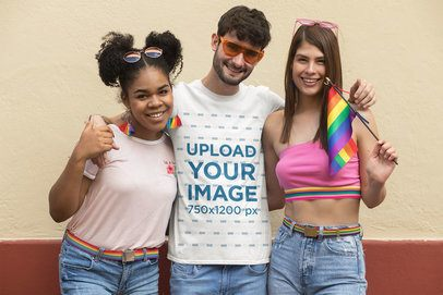 T-Shirt Mockup Featuring Friends Wearing Rainbow-Colored Accessories 32996