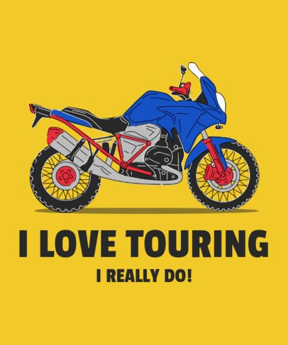 T-Shirt Design Maker Featuring a Touring Motorcycle Graphic 2406c