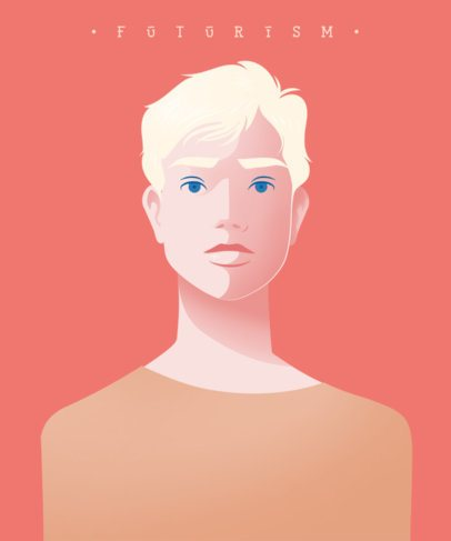 T-Shirt Design Template Featuring a Portrait of a Person 2405d