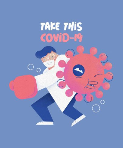 T-Shirt Design Creator Featuring a Doctor Fighting a Coronavirus Cartoon 2397b