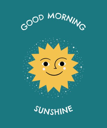 T-Shirt Design Creator Featuring a Happy Sun 2410c