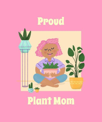 T-Shirt Design Template Featuring a Lady with Her Plant Pot 2394a