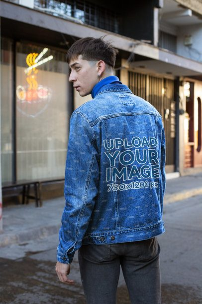 Mockup of a Man Wearing a Denim Jacket in the Street 32599