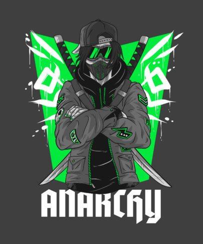 T-Shirt Design Maker Featuring an Anarchist Ninja 3084a