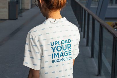 Back View Mockup of a Woman Wearing a Sublimated Button-Up Shirt in the Afternoon 33129