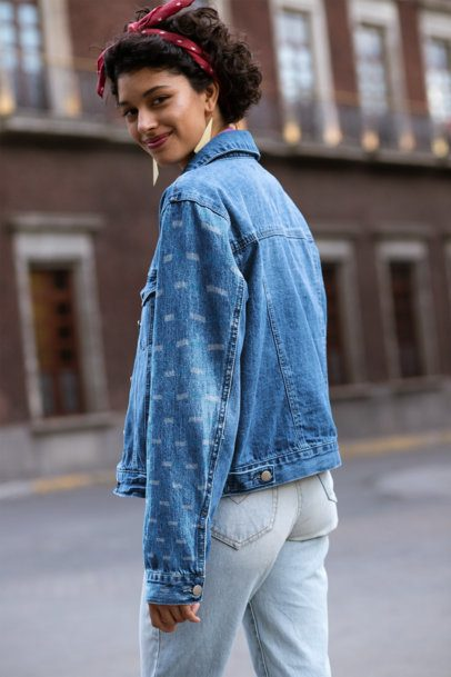Sleeve Mockup of a Young Woman Wearing a Denim Jacket 32585
