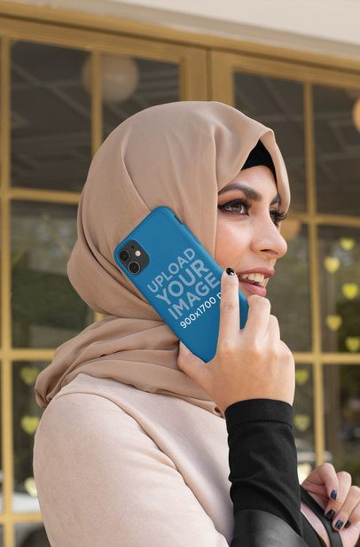 Phone Case Mockup Featuring a Woman with a Hijab Talking on the Phone 32414