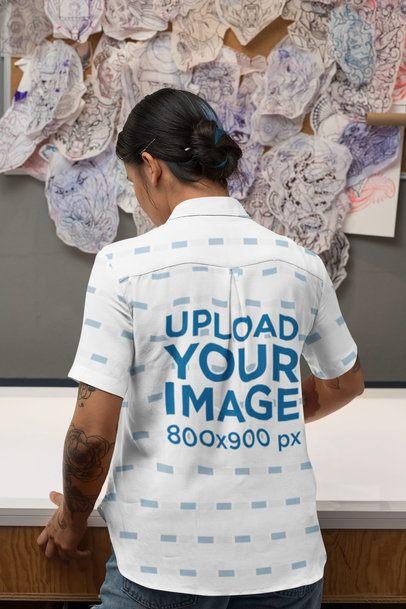 Back View Mockup of a Tattooed Woman Wearing a Customizable Button-Up Shirt 33151