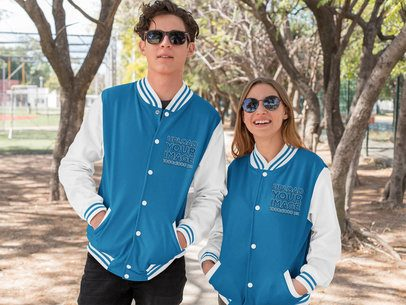 Varsity Jacket Mockup of a Man and a Woman Wearing Sunglasses 33216