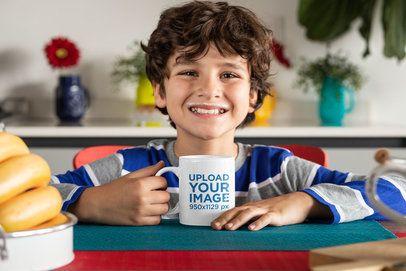 Mockup Featuring a Happy Kid Drinking Milk From an 11 oz Mug 33161