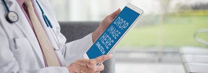 White iPad Pro Mockup Featuring a Doctor in his Office a12445