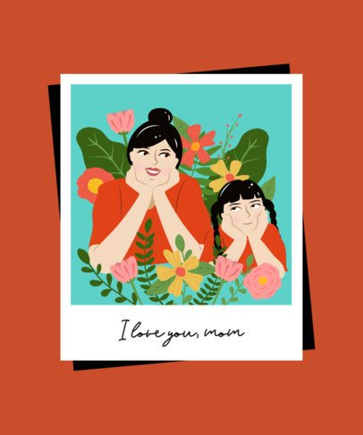 T-Shirt Design Template Featuring a Mother and Daughter Clipart 2425c